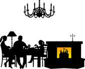 Family having their dinner at the table next to the fireplace in restaurant or dining room silhouette — Stock Vector
