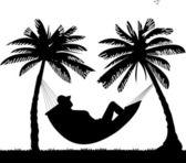 Silhouette of girl sunbathing and relaxing of hammock — Stock Vector