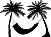 Silhouette of hammock under the palm trees — Stock Vector