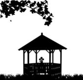 Summer house or arbor or gazebo in garden with flower silhouette — Stock Vector