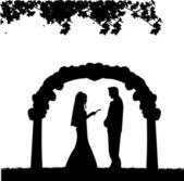 Outdoor weddings with wedding couple — Stock Vector