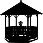 Summer house or arbor or gazebo with flower silhouette — Stock Vector