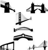 The most famous bridges of the world silhouette — Stock Vector