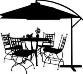 Garden furniture with bowl of fruit, bouquet snowdrops in vase and parasol silhouette — Stock Vector