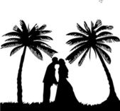Wedding couple, groom and bride on seacoast between the palms on the beach silhouette — Stock Vector