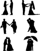Wedding couples, groom and a bride in a different poses silhouette — Stock Vector
