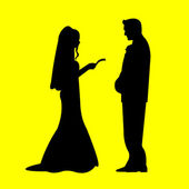Wedding couple, groom and bride in yellow background silhouette layered, — Stock Vector