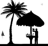 Bartender with cocktail shaker in drinking bar make cocktails on seacoast silhouette — Stock Vector