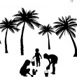 Royalty-Free Stock Vector Image: Kids playing on beach silhouette, one in the series of similar images