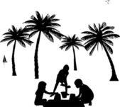 Dzieci na plaży sylwetka, jednym z serii podobnych zdjęć — Wektor stockowy