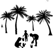Kids playing on beach silhouette, one in the series of similar images — Stock Vector