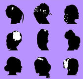 Wedding hairstyles silhouette on purple backgrounds in different shapes — Stock Vector