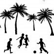 Little boys playing with ball, football on summer between the palms tree silhouette — Stock Vector