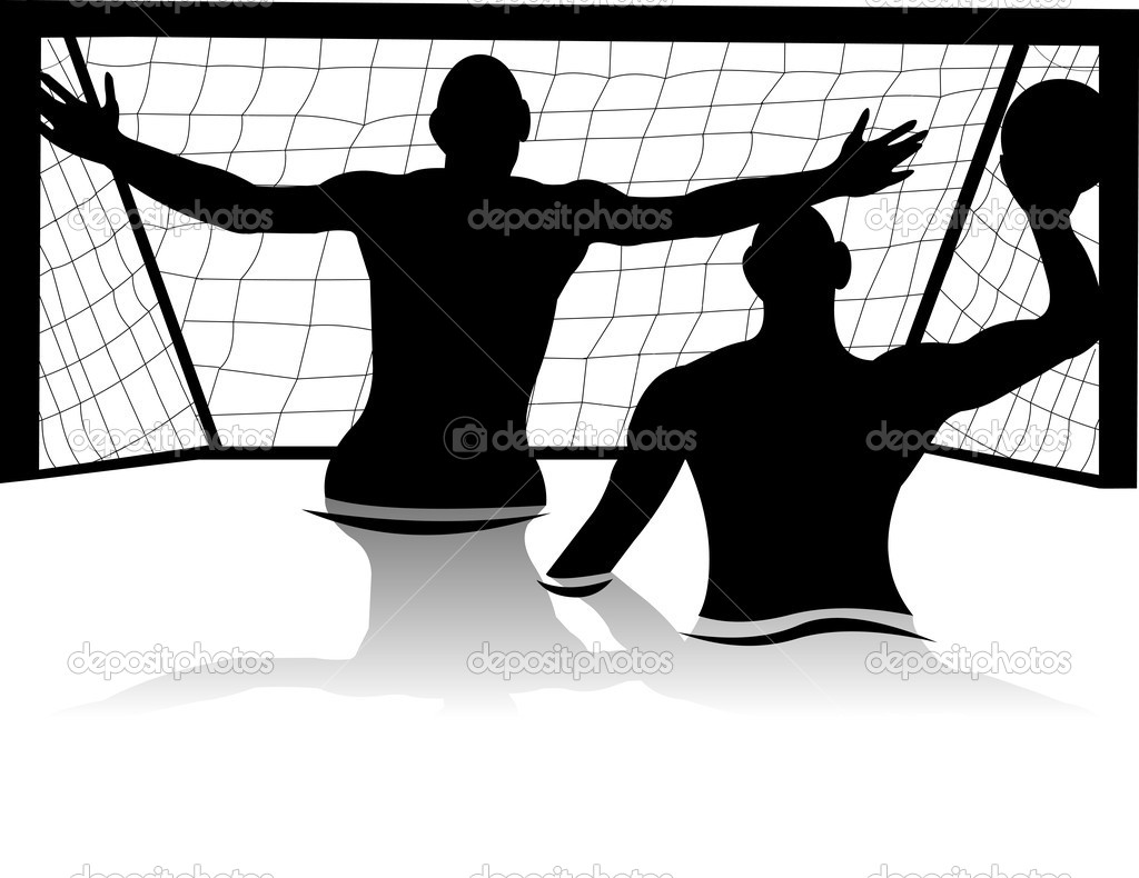 Men playing water polo silhouette — Stock Vector #11292165