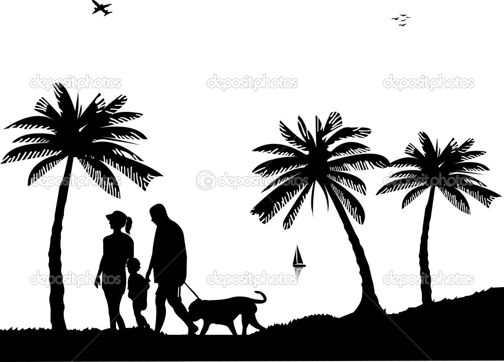 Family walking on beach with dog between the palms silhouette - Stock    Family Walking Silhouette