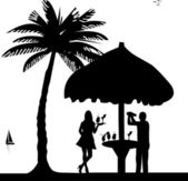 Bartender with cocktail shaker in drinking bar make cocktails and waiter is serving cocktails on seacoast silhouette — Stock Vector