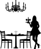 Romantic dinner for two with table and two chairs, candle decoration and candlesticks and old antique chandelier and waiter is serving the wine silhouette — Stock Vector