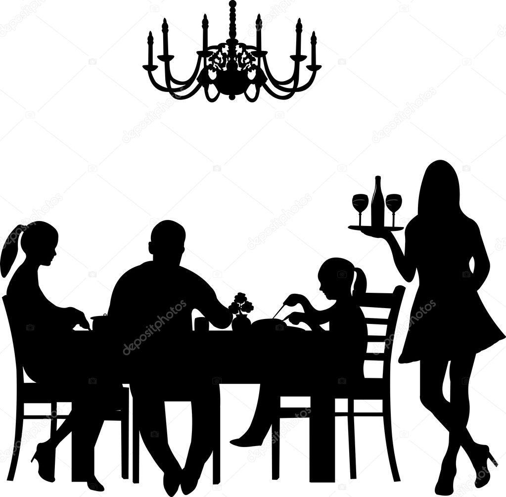 Silhouette Of A Restaurant Scene Were Family Enjoy Their