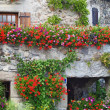 Beautiful House with Flowers in Yvoire, Geneva lake, France - Stock Photo
