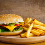Hamburger and fries — Stock Photo #10957218
