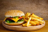 Hamburger and fries — Stock Photo