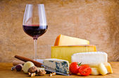 Rustic snack with cheese and wine — Stok fotoğraf