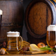 Beer and traditional food — Stock Photo