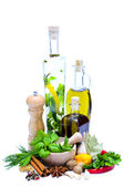 Olive oil, herbs and spices — Stock Photo