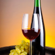 Still life with red wine and grapes — Stock Photo #10985049