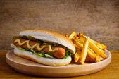Cachorro-quente e batata frita — Foto Stock
