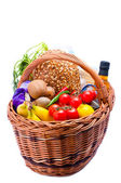 Basket with groceries food — Stock Photo
