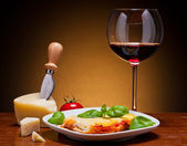 Lasagna and wine — Stock Photo