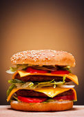 Large double burger — Stock Photo