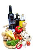Healthy food and wine — Stock Photo