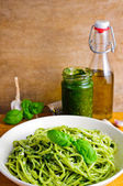 Pasta with basil pesto — Stock Photo