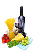 Pasta and wine — Stock Photo