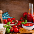 Tomato sauce and ingredients — Stock Photo
