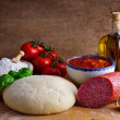 Homemade pizza ingredients — Stock Photo