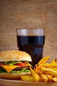 Hamburger menu with fries and cola — Stock Photo