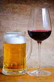 Beer mug and wine glass — Stock Photo