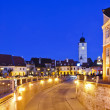 Sibiu in Romania, at night — Stock Photo