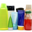 Cosmetic bottles on white background — Stock Photo
