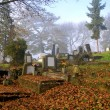 Beautiful graveyard in autumn - Stock Photo