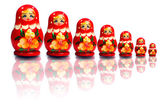 Nested dolls on a white background — Stok fotoğraf