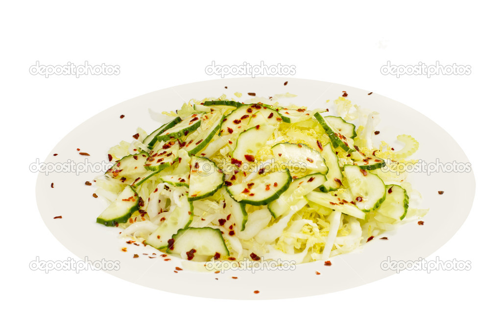 Vegetarian salad in a plate on the white, isolated — Stock Photo #10797431