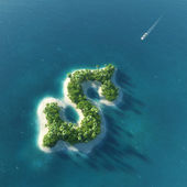 Success way. Tropical island in the form of dollar — Stock Photo