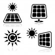 Stock Vector: Solar panels icons