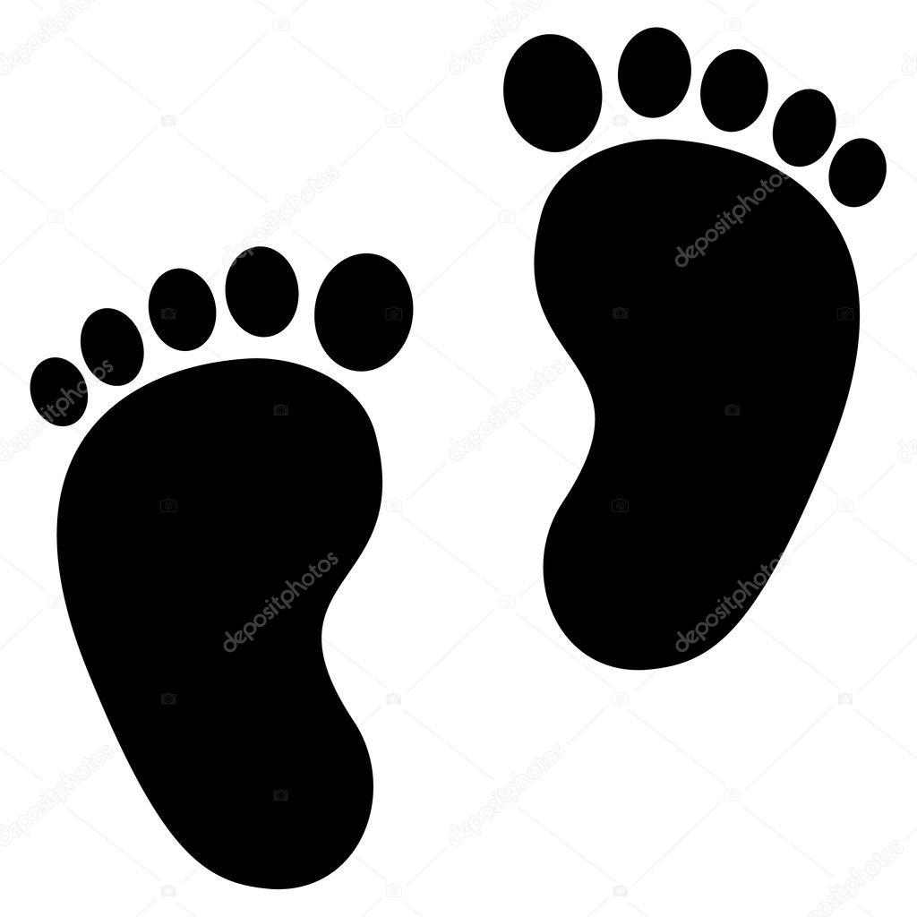 Baby Small Feet Baby Footprint Black Small