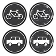 Bike and car retro label — Stock Vector