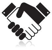 Handshake glansigt svart ikon — Stockvektor